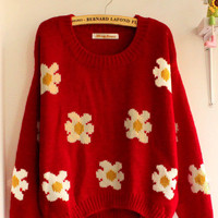 Lady Sun Flowers Daisies Sunflower Pullover Jumper Sweater Knitwear Coat Top Tnz