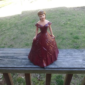 1950s Kleine Co. Porcelain Figurine in Victorian Dress, 9 5/8 In. Tall, Burgundy Dress, Vintage Ceramics, Figurines, Pretty Formal Wear Girl