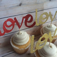 LOVE CUPCAKE TOPPERS, glittery gold and red love word cupcake toppers, valentines day cupcake toppers, love is in the air cake toppers