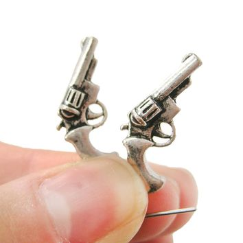 Realistic Gun Pistol Revolver Shaped Dangle Drop Stud Earrings in Silver