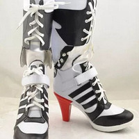 Batman Suicide Squad Harley Quinn Movie Cosplay Costumes Shoes Boots High Heels Custom Made For Adult Women Halloween Party