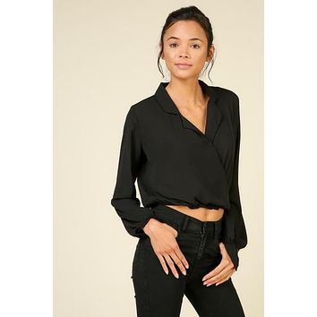 Long Sleeve Chiffon Crop Top - Black