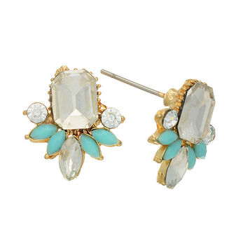 Gold tone post earrings featuring a clear rhinestone focal with mint green stone accents