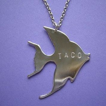 Supermarket: Gold Fish TACO Necklace from Metal Sugar