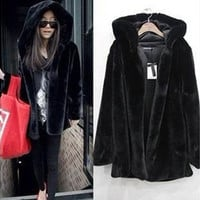 New winter/autumn fashion fluffy warm female coat loose faux fur hooded jacket women overcoat [9210699779]