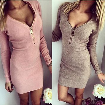Summer Women Dresses Zipper V-neck Sexy Knitted Dress Bodycon Sheath Pack Hip Dress Vestidos Tight Fitting Open Chest Dress