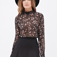 High-Neck Floral Chiffon Top