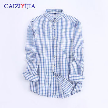 Men's Light-blue and White Small Plaid Shirt with Left Chest Pocket Long Sleeve Slim-fit Pure Cotton Button-Down Shirts