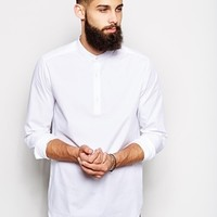 ASOS Smart Shirt In Long Sleeve With Grandad Collar And Half Placket