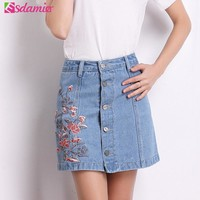 2017 Summer Fashion Floral Embroidery Denim Skirt Womens High Waist Jean Skirt Button Up Skirts A-line Mini Skirt