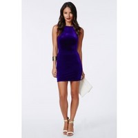 Missguided - Masumi Velvet Strappy Bodycon Dress Cobalt