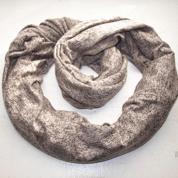 Large and cosy jersey knit circle scarf in grey and faded rose- Volcano Store