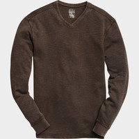 PRONTO BLUE V-NECK SHIRT, BROWN