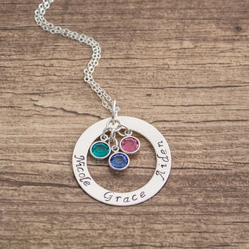 Personalized Sterling Silver Washer Necklace- Family Name Birthstones Necklace