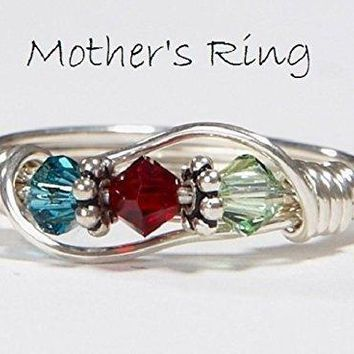3 stone Mother's Birthstone Ring: Personalized Sterling Silver Mom's Family Ring.Three Swarovski multistone Crystals. Mother's Day, Christmas, birthday, Valentines day, anniversary, new baby.