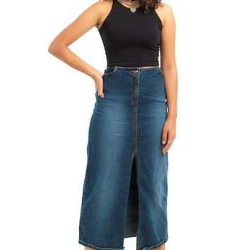 Vintage Y2K Stretch Denim Maxi - L