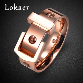 Lokaer New Fashion Belt Buckle Design Stainless Steel Rings Jewelry Romantic Love Wedding Bands Ring for Men and Women Anillos