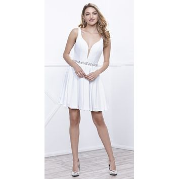 Deep V-Neckline Short Cocktail Dress -Line Embellished Waist White