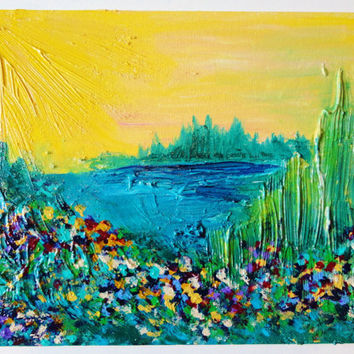 SALE - ORIGINAL ACRYLIC Painting, Abstract Landscape w Wildflowers 8 x 10 Bold Colors, Summer Art, Sunshine Yellow, Teal, Jewel Tones, Gift