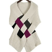 Buy High Quality Vogue Crossed Plaid Knitted Cape Vest Beige with cheapest price|wholesale-dress.net