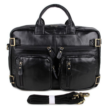 Black Genuine Vintage Leather Men's Backpack Briefcase Laptop Bag 5 Uses