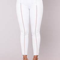 Rooftop Chillin Mesh Jeans - White