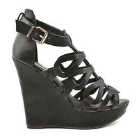 Madison110 Black Pu By Wild Diva, Strappy Cutout Gladiator Open Toe Platform Wedge Sandal