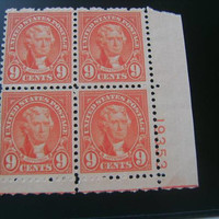 1927 9c Jefferson Plate Block of 4 Stamps #641 Vintage Postage Collect Old US American Stamps Philately Good Gift Stamp Collector Collection