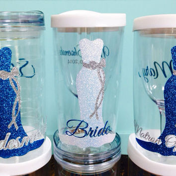 6 Vino2Go Tumblers Personalized on 2 sides - Beautiful Long Bridal Dress Gown Glitter bridesmaid Gifts  Wedding  Gifts Unique Wedding favor