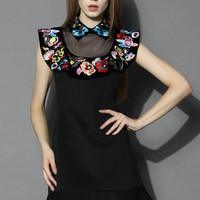 Merry Flower Embroidered Flare Dress Black