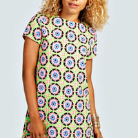 Liz Tile Print Short Sleeve Shift Dress