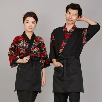 Free shipping cotton Print sushi cloth Japanese food service uniform fan pattern chef japan  work cloth