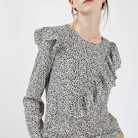 Mono Animal Ruffle Long Sleeve Blouse