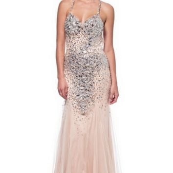KC131573 Nude Jeweled Evening Gown by Kari Chang Couture