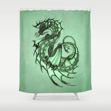 Tsunami Sea Dragon ~ Jade Shower Curtain by River Dragon Art | Society6