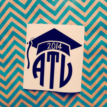 Graduation cap monogram decal car sticker graduation gift monogram decal graduation hat custom monogram car sticker decal graduation gift