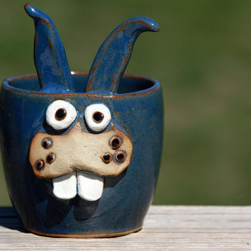 EASTER Bunny Springtime Blue Bunny Cup by NelsonStudio on Etsy