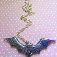 Magical Kawaii Galaxy Bat Pendant / Creepy Cute Pastel Goth Gothic Lolita Fairy Kei Bat Necklace / Horror Pipistrello Cute Bat Jewelry