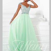 Sweetheart With Cap Sleeves Beaded Floor Length Prom Dress Tiffany Designs 16085