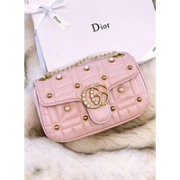 GUCCI Marmont 2018 new trend female models pearl rivet chain bag shoulder diagonal bag handbag Pink