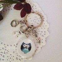 Mr Blue Owl Keychain or Bag Dangles, A Gift For Him