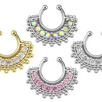 Fan Paved Gem Septum Hanger