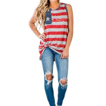 Women Print American Flag Sleeveless Tank Crop Tops Vest T-Shirt crop tops wonder oversized t shirt Loose Tees Sexy
