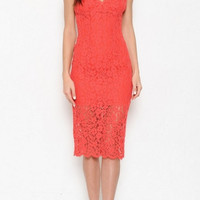 Spaghetti Strap V-Neck Lace Knee Length Cocktail Dress - Red