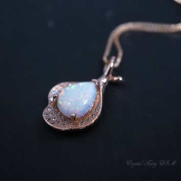 Opal Necklace -  Rose Gold Opal Leaf Necklace - Large Synthetic White Fire Opal Pendant, Wedding Bridal Necklace