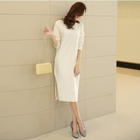 Women : Midi White Wool Knit Dress YRB0613