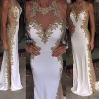 Backless Mermaid Halter Gold Sequin Side Split Long Prom Dress Beaded Sexy Prom Dress from lass