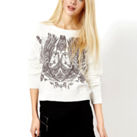 'The Kylie' Printed Round Neck KnittedSweater