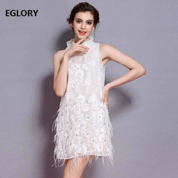 Lux Party Dresses Women Bow Tie Beaded Embroidery Feather Tassels Dress Princess Dresses