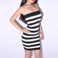 Bqueen Sexy Stripes Dress LN031E - Designer Shoes|Bqueenshoes.com